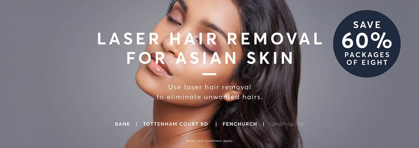 Asian beautiful lady on grey background promoting laser hair removal for Asian Skin