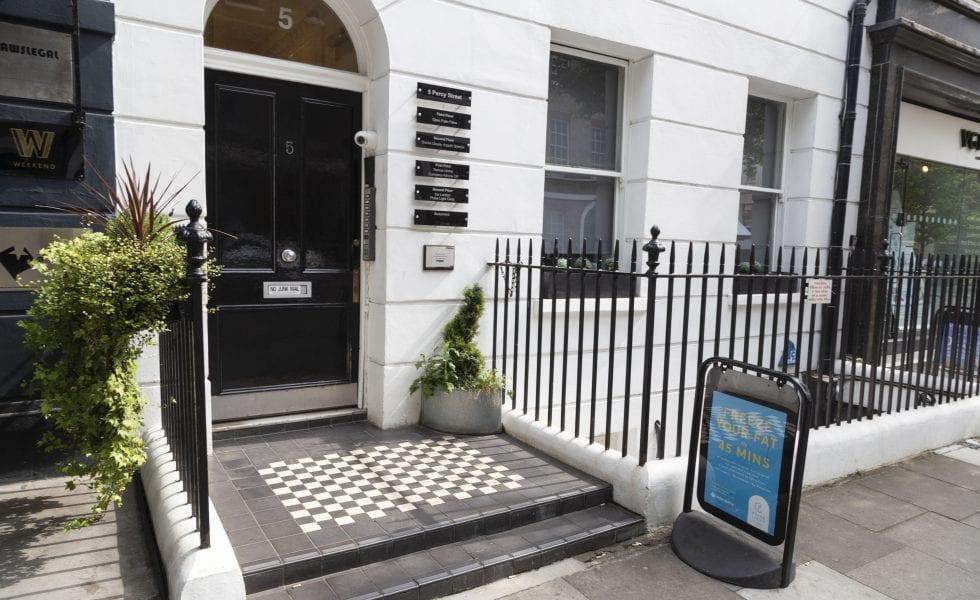 Entrance of Pulse Light Clinic Central London