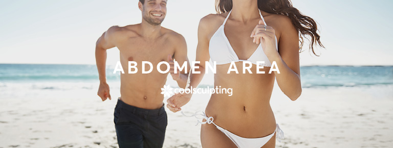 A male and female showing there abdomen area in there swimwear running on the beach for CoolSculpting treatment